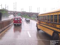 Atlantic Express 3625 school bus, Interstate 76, Philadelphia,PA - Blue Bird