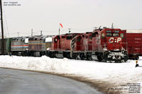 CP 5688, STL&H 8245, CP 5973, CDAC 457 - F40PHRm (Ex-Amtrak F40PH 367 built with internal parts from SDP40F 521) and AMTK 245 (Build with internal parts from SDP40F 562)