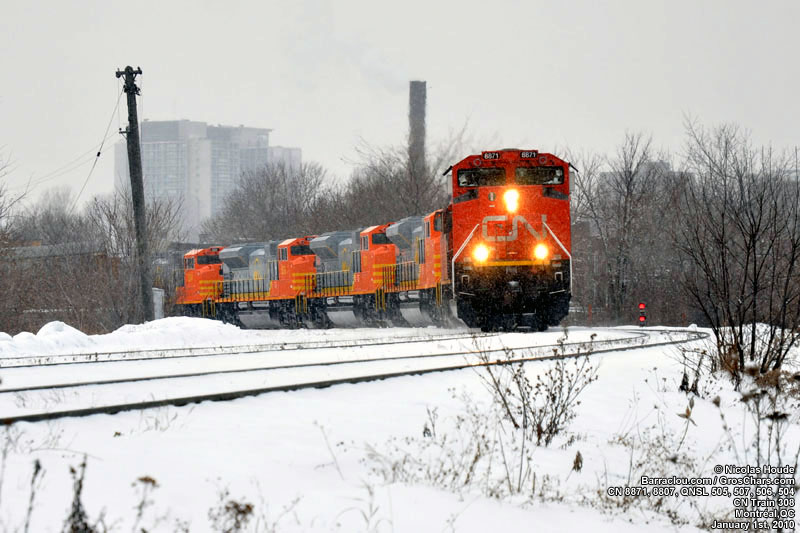 QNSL SD70ACe 505, 507, 506 et 504 sur le train 308 du CN
