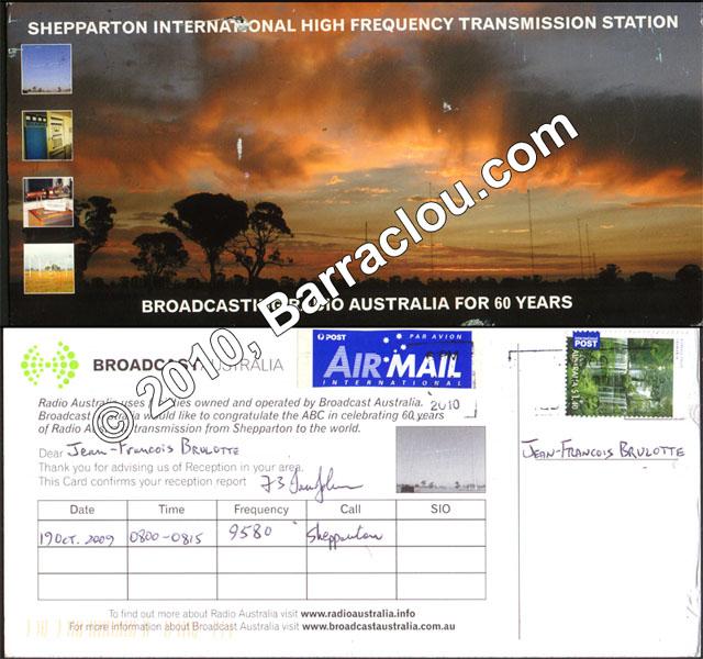 Broadcasting Australia On 9580 KHz Shepparton