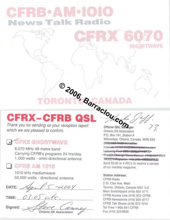 CFRX On 6070 KHz TorontoON Canada