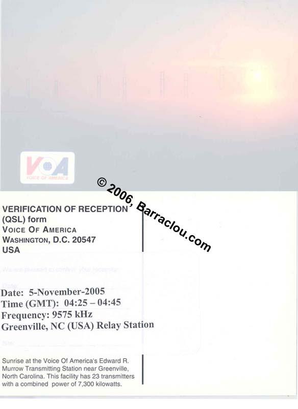 Voice Of America On 9575 KHz Via GreenvilleNC United States